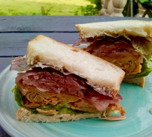 vegan sandwich with pickles and braised tofu