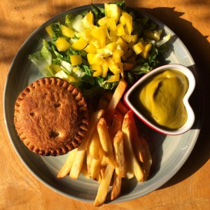 vegan pie, salad, chips and homemade curry sauce