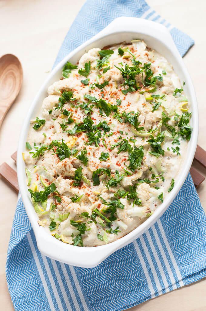 vegan cauliflower leek casserole family recipes
