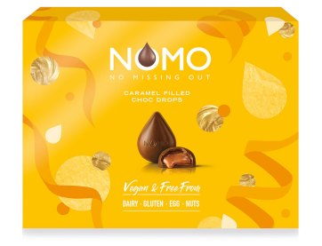 NOMO launches vegan caramel-filled chocolate drops