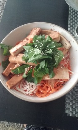 Tofu, mint, carrot, rice noodle & seasame.