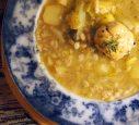 pearl barley potato rosemary and leek stew, with a savoury sage dumpling
