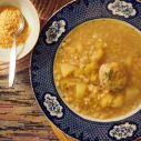 pearl barley stew served with extra nutritional yeast (with added B12)