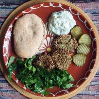 broad bean patties + pitta + cucumber salad+ pickled cucumbers + spinach ribbons