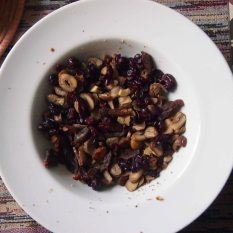 sliced chestnuts, sliced apricots, dried cranberries