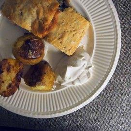 kulebjaka, garlic potatoes, sour cream