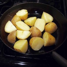 saute boiled potatoes for 6-8 mins. turning occasionally