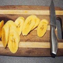 slice ripe plantain diagonally