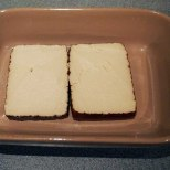 slice tofu block in half through middle