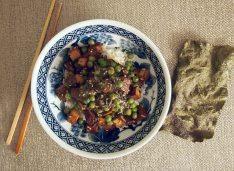 marinaded tofu, sautéed with peas, seaweed, sesame seeds in a miso sauce + toasted nori