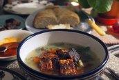 caldo verde, fried tempeh + semolina bread