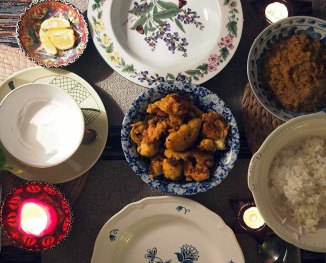 cauliflower curry two ways: pakora and bharta