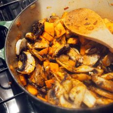 add mushrooms to onions and sweet potato