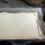 fold the pastry edges in and decorate