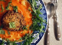 stuffed mushrooms + tagliatelle in a tomato sauce + wild rocket