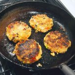 fry burgers for about 4 mins. on each side