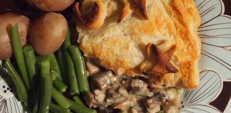 mushroom and chive pithivier with boiled potatoes and green beans