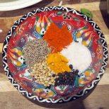 cumin, chilli powder, salt, black peppercorns, turmeric and coriander