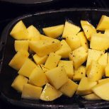 roast cubed potatoes in hot oven with salt pepper and oil