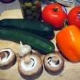 tomatoes olives courgettes pepper and mushrooms...garlic and olives...