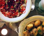 radishes, pomegranate seeds, red cabbage and celery ...a crunchy salad with warm salad potatoes in garlic and sumac