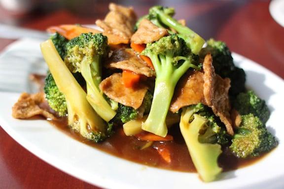 Seitan-and-broccoli stir fry