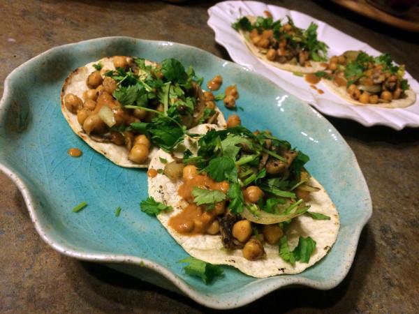 Chickpea Cilantro Tacos with Curry Peanut Sauce