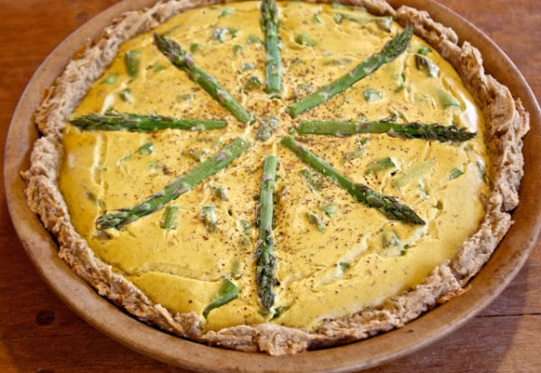 Potato Bean Crusted Vegan Asparagus Quiche