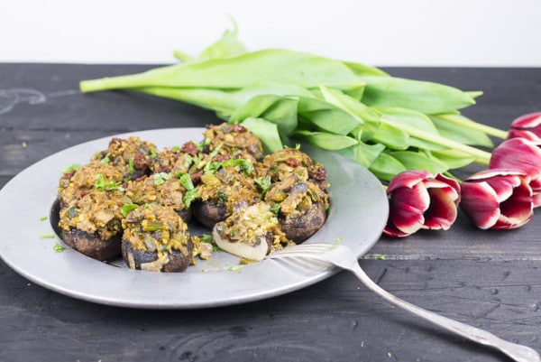 Stuffed Mushrooms with Lemony Asparagus and Pistachios