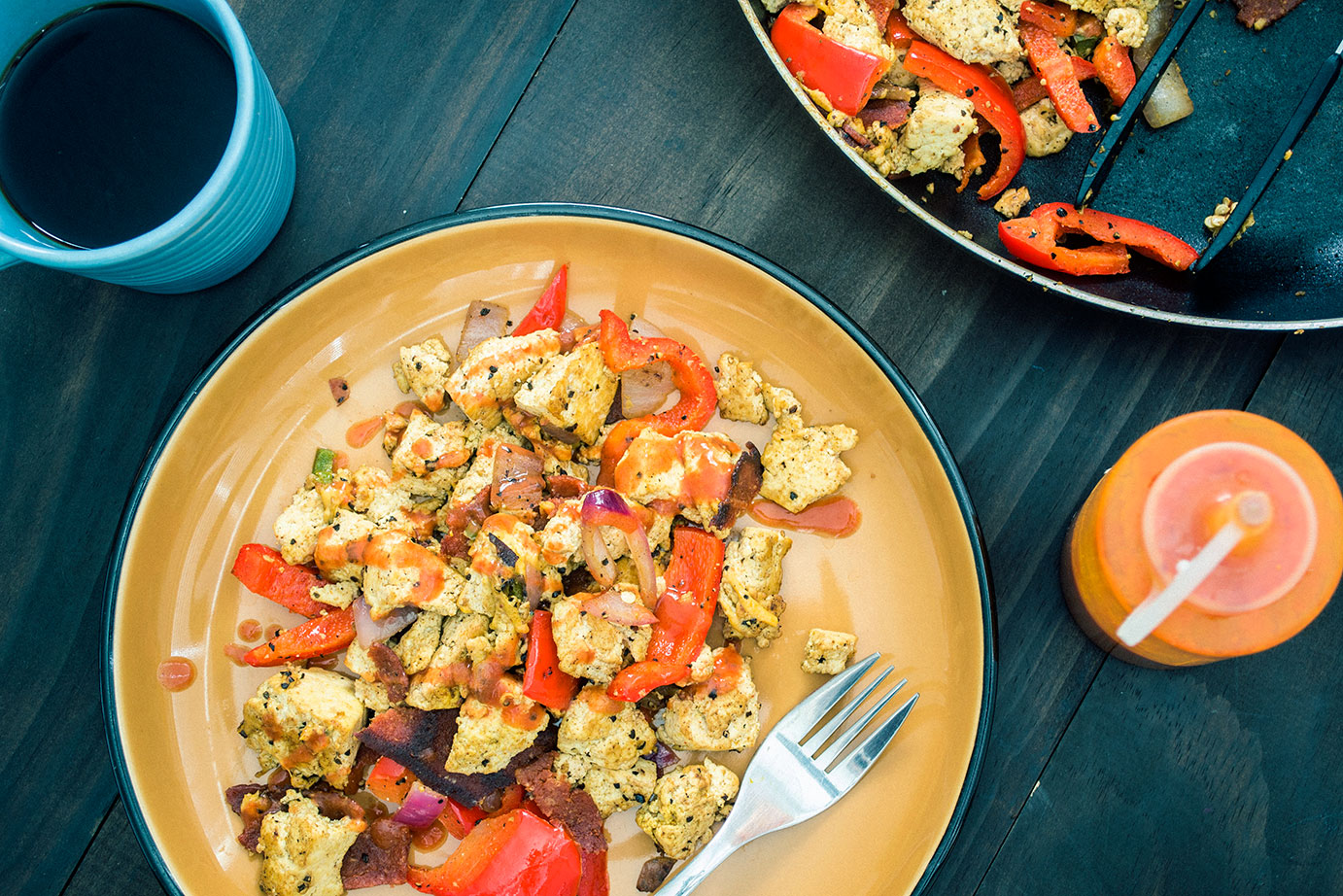 "Vegan ""Bacon & Eggs"" Southwest Breakfast Scramble"