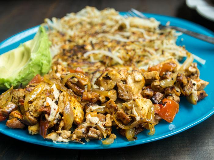 Tempeh-Bacon & Tofu Breakfast Scramble