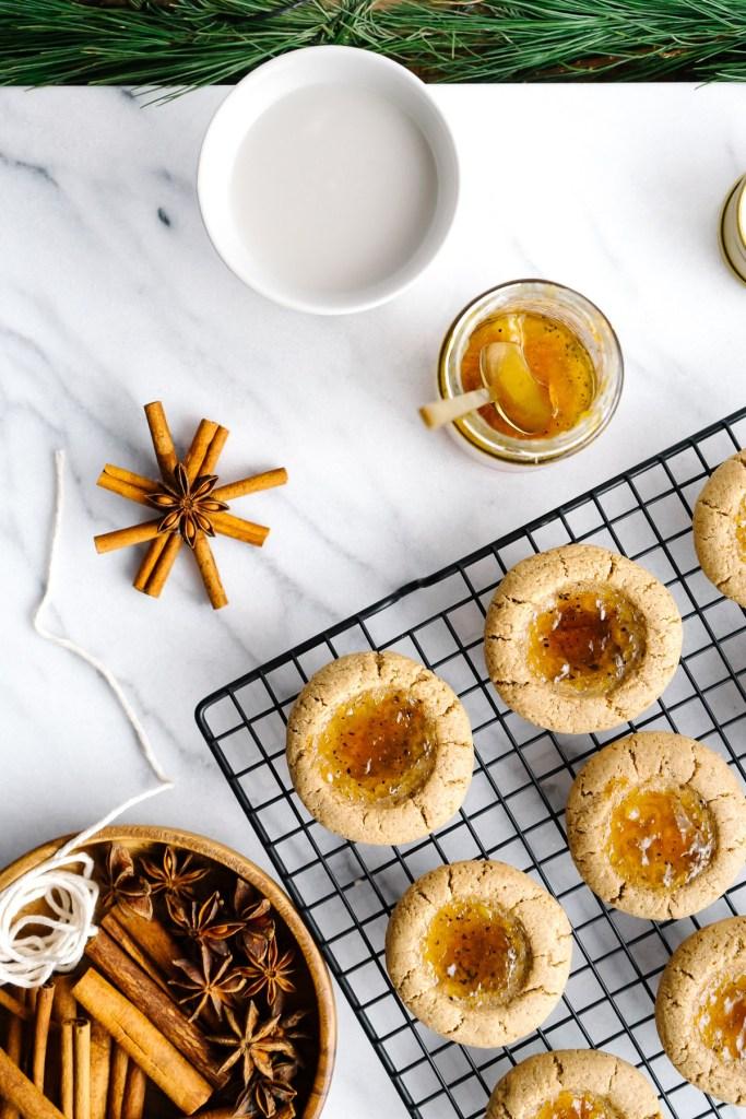 Almond Thumbprint Cookies with Orange Cardamom Jam