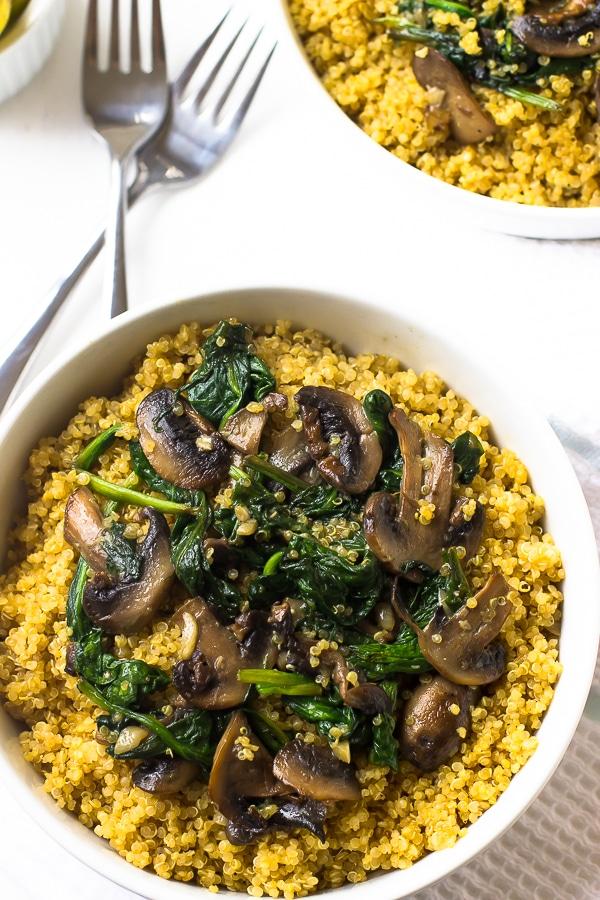 Creamy Coconut Spinach and Mushroom Quinoa