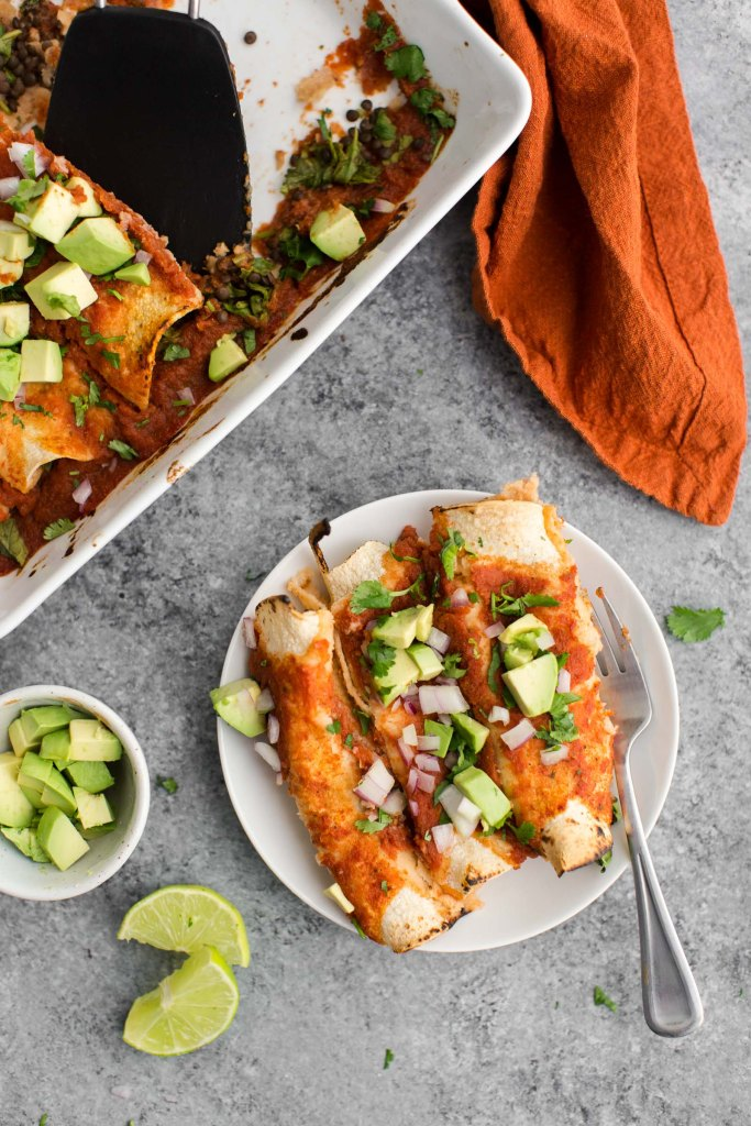Spinach Enchiladas with Lentils