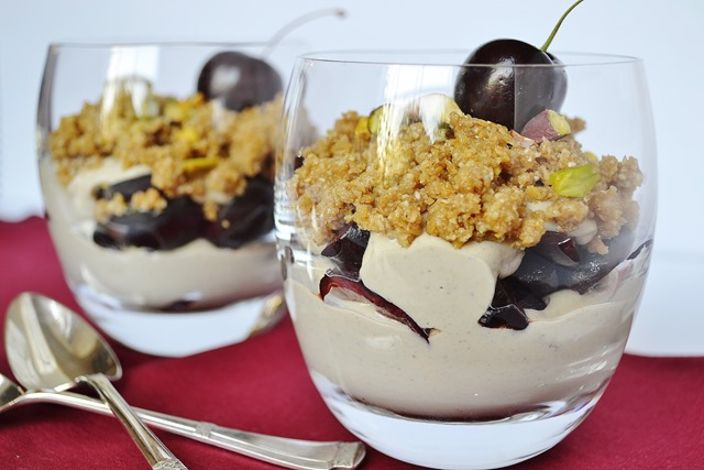 Cherry, Pistachio Cream + Oat-Flax Crumble Parfait