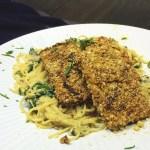 Parmesan Crusted Tofu w/ Creamy Mushroom & Spinach Spaghetti