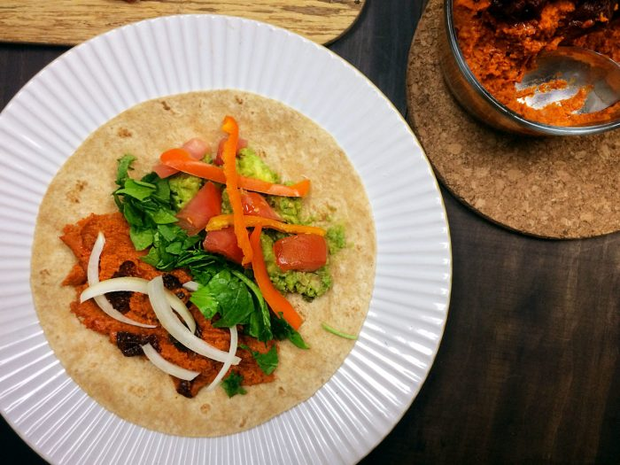 red hot chili pepper hummus and veggie wraps