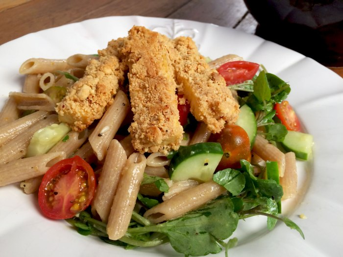 Lemon Pepper Pasta Salad w/ Peanut Crusted Tofu » Vegan ...