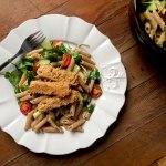 Lemon Pepper Pasta Salad w/ Peanut Crusted Tofu