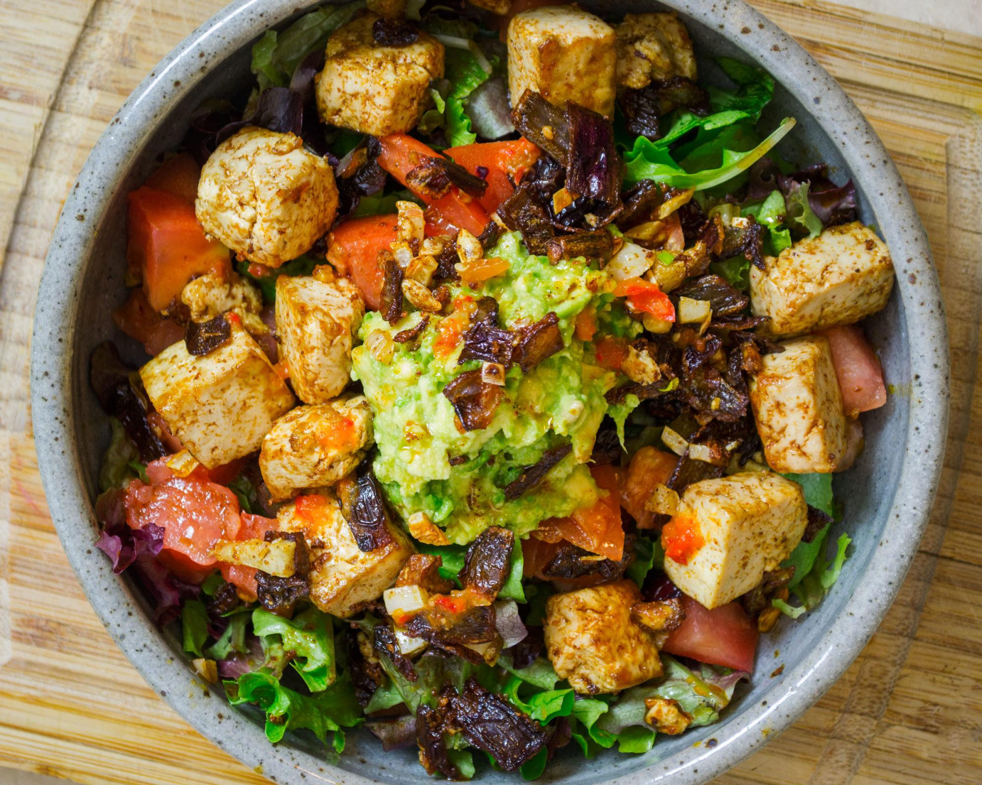 Caramelized Red Onion and Chili-Tofu Salad