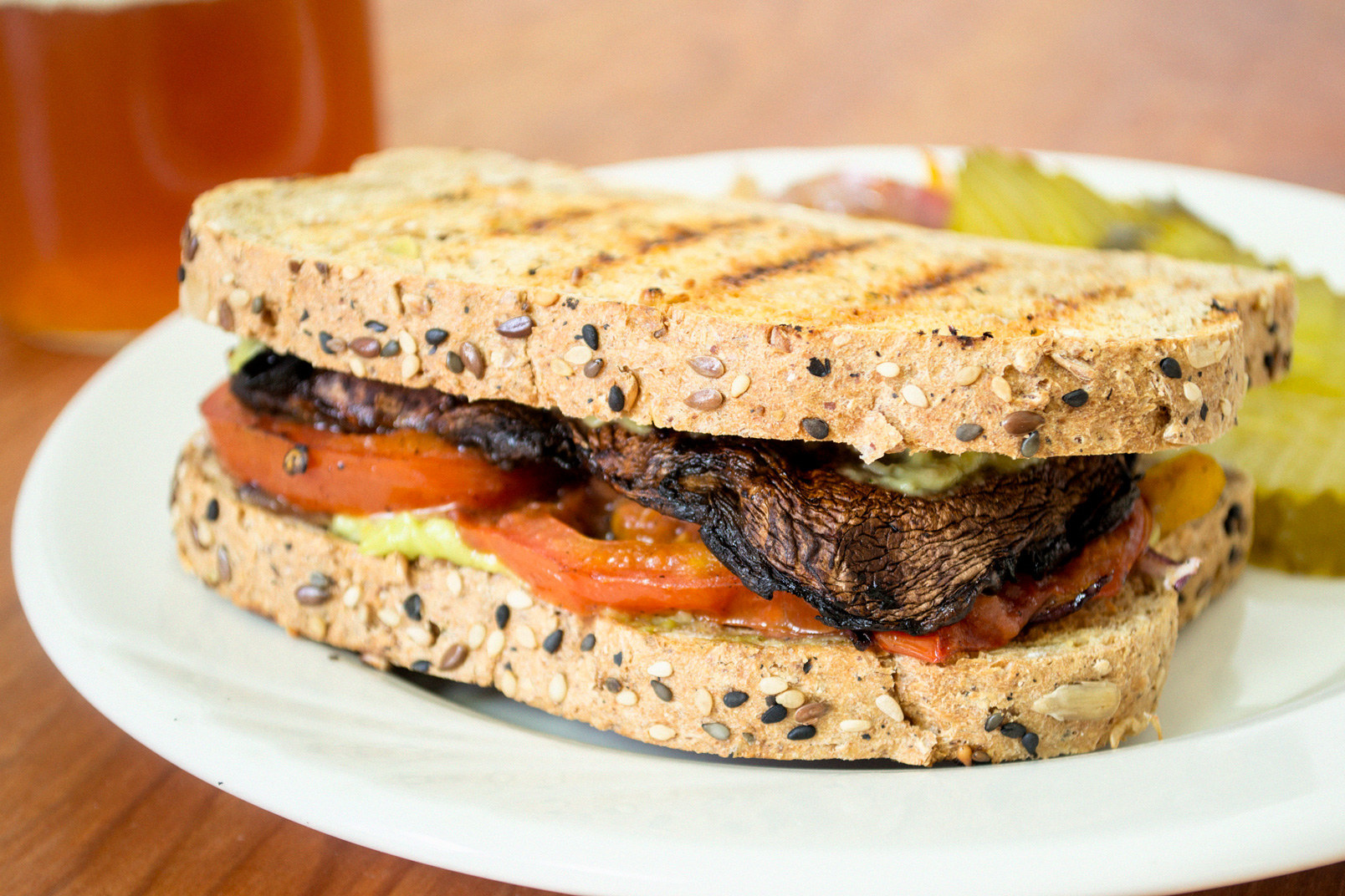 Grilled Portobello Sandwich with Avocado Aioli