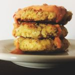 White Bean & Nut Fritters with Spicy Sauce