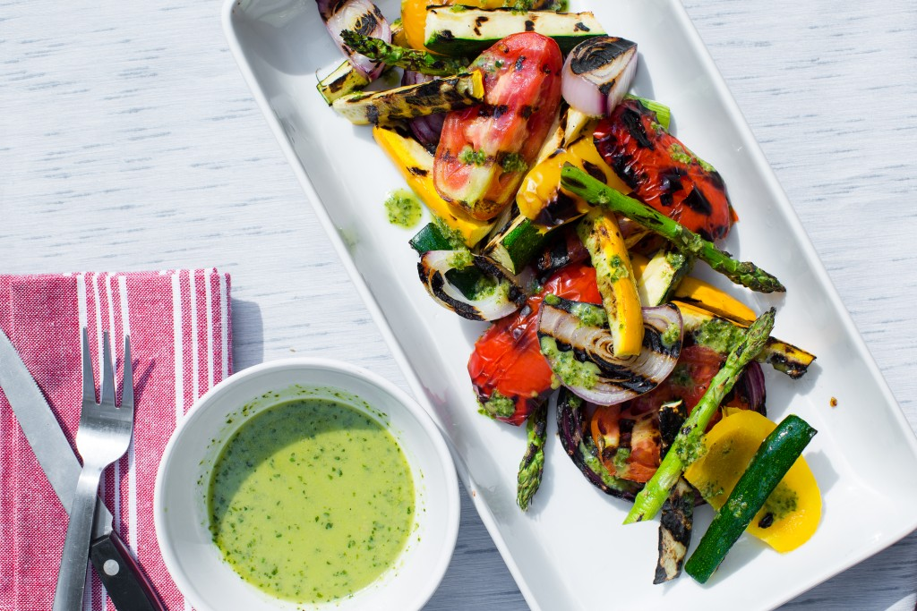 Grilled Summer Salad with Salsa Verde