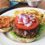 Seared Mushroom Garlic Burger with Roasted Red Pepper Sauce
