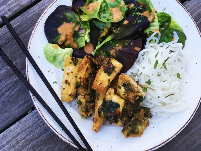 Crispy Thai-Style Tofu with Noodles, Mixed Greens and Peanut Dressing