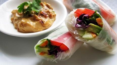 Image result for thai rolls peanut sauce
