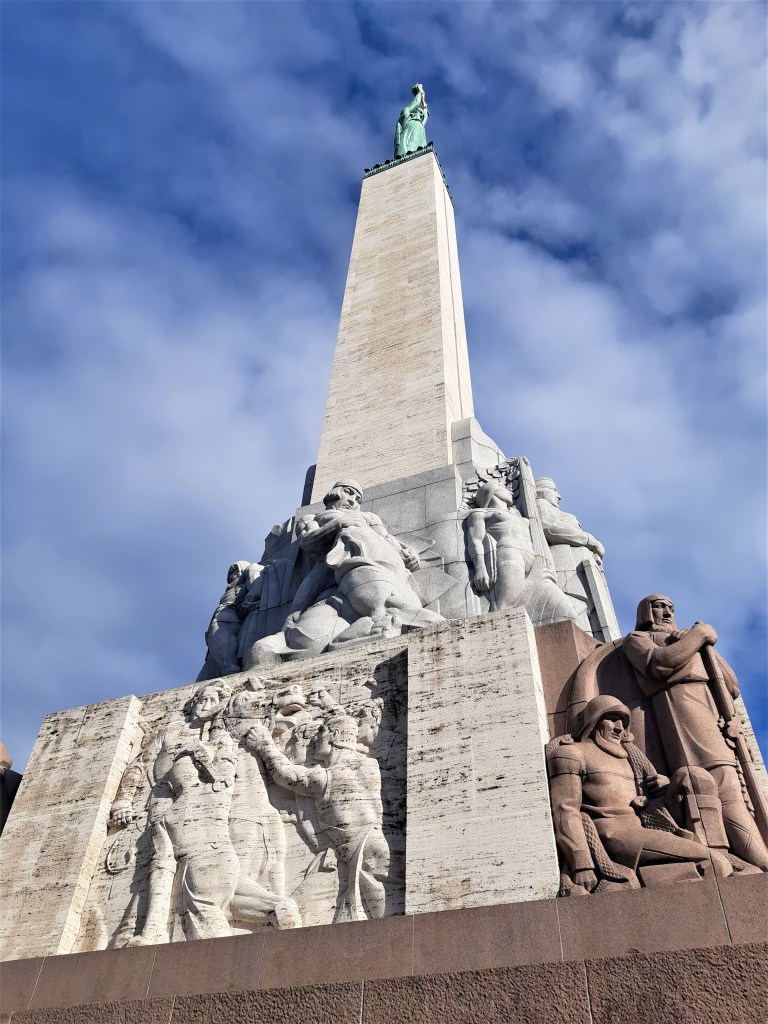 The Freedom Monument in Riga, a close up