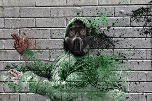 Gas mask graffiti