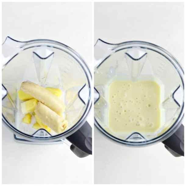 Two process photos of blending a pina colada smoothie.