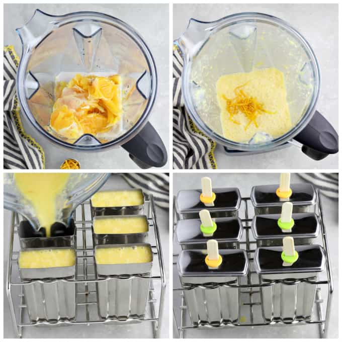 Four process photos of blending ingredients and pouring into popsicle molds.